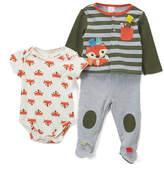 Taggies Olive & Gray Heather Stripe Fox Cardigan Set - Infant