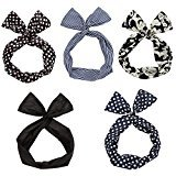 Twist Bow Wired Headbands Scarf Wrap Hair Accessory Hairband by Sea Team(5 Packs)