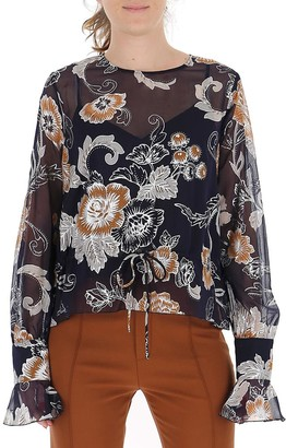 See by Chloe Jacquard Floral Sheer Blouse