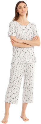 S.O.H.O New York Core Short Sleeve Top With 3/4 Pant PJ Set White