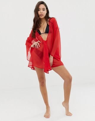Asos Design DESIGN knot front chiffon beach cover up in red