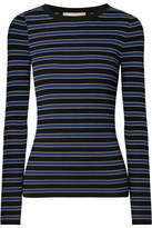 Michael Kors Striped Ribbed-knit Sweater - Black