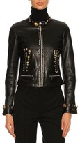 Dolce & Gabbana Button-Embellished Leather Café Racer Jacket, Black