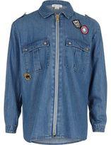 River Island Girls blue badge oversized shirt