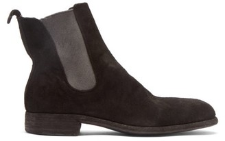 Guidi Distressed Suede Chelsea Boots - Black