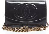 Chanel Black Patent Leather CC Envelope WOC Wallet On Chain