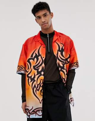 Asos Design DESIGN festival relaxed fit satin shirt with 90s tattoo print-Red