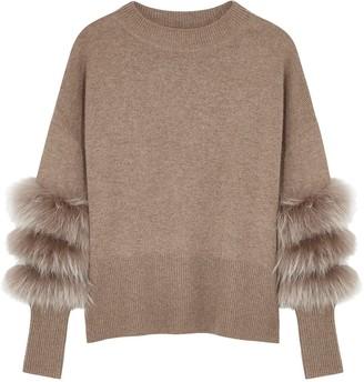 Dom Goor Brown Fur-trimmed Wool-blend Jumper