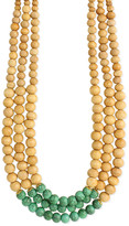 Zad ZAD Women's Necklaces - Teal & Wood Layered Beaded Statement Necklace
