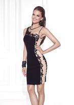 Tarik Ediz Embellished Jewel Neck Short Dress 90438
