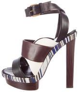 Balenciaga Stripe-Trimmed Leather Sandals