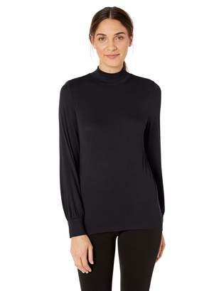 Lark & Ro 1-by-1 Rayon Span Semi-Funnel Neck Full Sleeve Top Shirt