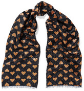 Gucci Intarsia Metallic Knitted Scarf - Bronze