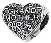Zable Sterling Silver Grandmother Heart Bead