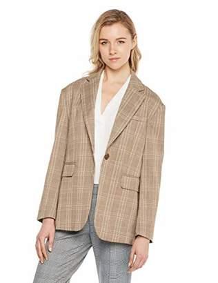 MEHEPBURN Women's Casual Button Notched Lapel Lattice Suit Blazer Jacket S