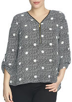 Chaus Roll Tab V-Neck Maritime Dot Zipper Blouse