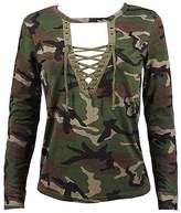 BELLELILI Women's Spring Long Sleeve Camouflage Print Lace Up Blouse T-Shirt Tops