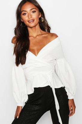 boohoo Petite Off The Shoulder Blouse
