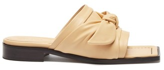 Wandler Bow-strap Leather Slides - Beige