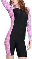 Meiruian Womens Long sleeve Boysuit Boyleg Swimwear Swimsuit Unitard Diving Suit