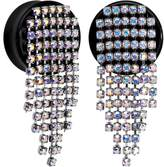 Body Candy Handcrafted Aurora Blanket Acrylic Saddle Plug Set Created with Swarovski Crystals 7/8""