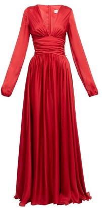 Alexandre Vauthier Plunge-neck Side-slit Gown - Red