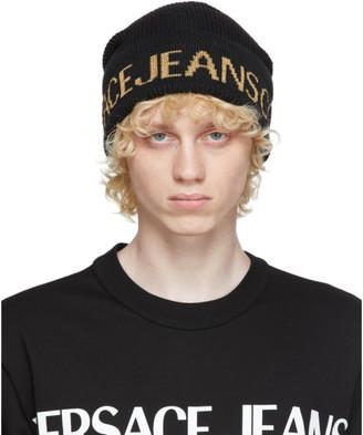 Versace Black and Gold Jacquard Logo Beanie
