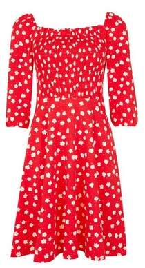 Dorothy Perkins Womens Red Floral Print Gypsy Shirred Fit And Flare Dress, Red