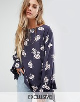 Reclaimed Vintage Oversized Smock Top With Tie Wrist In Floral Print