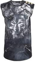 Balmain Drilled Wolf Print Grey Tank Top