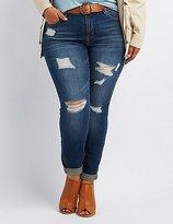 Charlotte Russe Plus Size Refuge Boyfriend Destroyed Jeans
