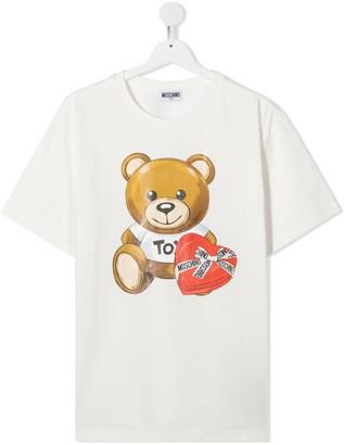 MOSCHINO BAMBINO TEEN logo teddy bear print T-shirt