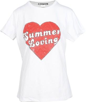 Pinko Summer Loving Heart Print White Cotton Women's T-Shirt