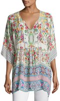 Johnny Was Floral-Print Bias Tie-Neck Top, White Multi