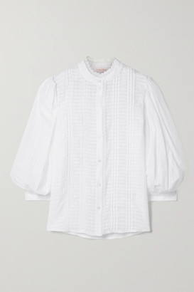 See by Chloe Crochet-trimmed Pintucked Embroidered Cotton-voile Blouse - White