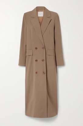 ENVELOPE1976 Net Sustain Gala Double-breasted Wool-gabardine Coat - Light brown