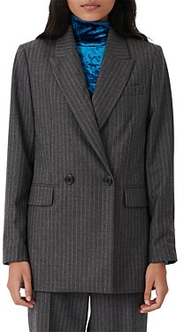 Maje Visland Pinstriped Double Breasted Wool & Cashmere Blazer