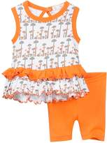 Beanstork Organics by Coccoli Organic Mushroom Print Dress & Shorts 2 Piece Set (Baby Girls)