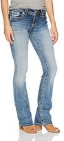 Miss Me Women's Mid Rise Boot Cut Denim Jean with Embellished Pocket