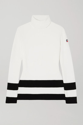 Fusalp Striped Knitted Turtleneck Sweater - White