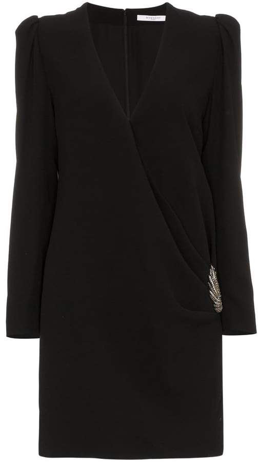Givenchy silk wrap dress with side embellishment