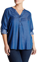 Susina Long Sleeve Woven Blouse (Plus Size)