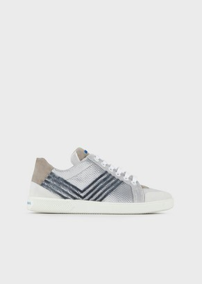 Giorgio Armani Leather And Velvet Sneakers With Chevron Design And Suede Details