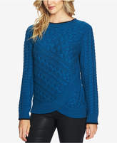 CeCe Cotton Layered Cable-Knit Sweater