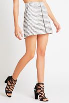BCBGeneration Striped Zipper-Front Skirt - Black