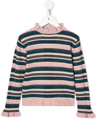 Velveteen Julie striped ruffle-neck sweater
