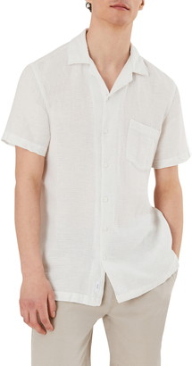 Onia Short Sleeve Button-Up Dobby Check Linen Blend Camp Shirt