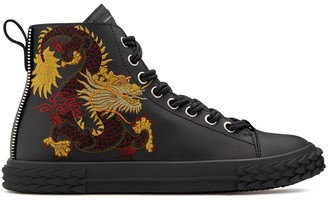 Giuseppe Zanotti high top embroidered Chinese dragon sneakers
