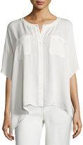 Diane von Furstenberg Karrly Dolman-Sleeve Silk Button-Front Top, Canvas White