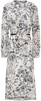 Claudie Pierlot Draped Printed Crepe De Chine Midi Dress